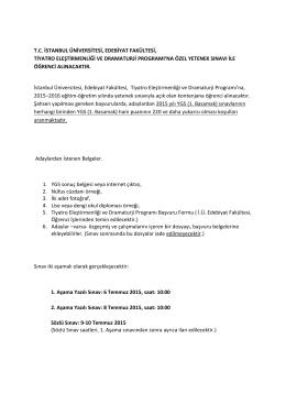 tc istanbul üniversitesi, edebiyat fakültesi, tiyatro eleştirmenliği ve