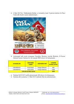 • 6 Mart 2015`de TürkKadınlar Birliği ve Arslanköy Çadır Tiyatrosu