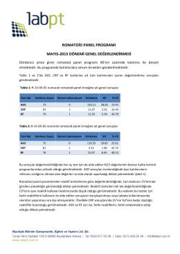 romatoid panel programı mayıs-2015 dönemi genel değerlendirmesi
