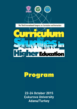 Program - Curriculum Studies in Higher Education Adana, Turkey