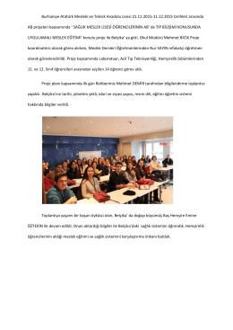 AB Projesi kapsamında Yurt dışında bulunan Belçika grubu