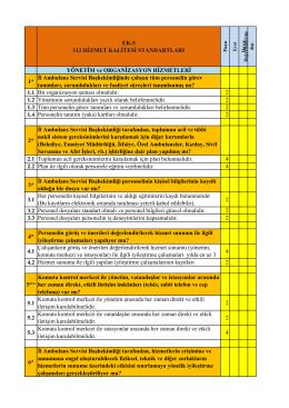 112 ASH Kalite Standartları
