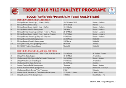 2016 Faaliyet Programı - Türkiye Bocce Bowling ve Dart Federasyonu