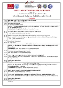 MIDETI YOUNG RESEARCHER WORKSHOP Program