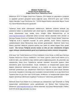Genel Kurula Çağrı - Migros Ticaret A.Ş