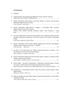 İÇİNDEKİLER 1. Editörden 2. Sektörün Meslek - E-JOIR
