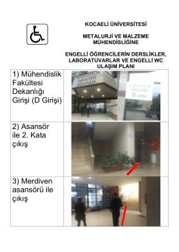 1) Mühendislik Fakültesi Dekanlığı Girişi (D Girişi)