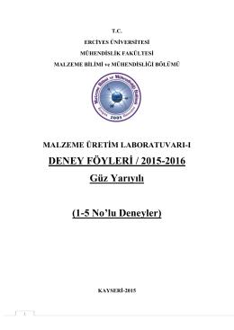 2015-2016 güz dönemi deney föyü - Erciyes Üniversitesi | Malzeme