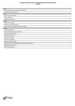 E-OKUL´da Fotoğrafı Olmayan 8.Sınıf Öğrencilerinin Sayıları ve