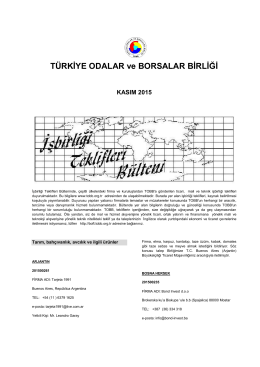 2015 Kasım (pdf-250 Kb) - Dünyadan İşbirliği Teklifleri