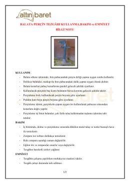 Balata Perçin Tezgâhı Kullanma, Bakım Ve Emniyet Bilgi Notu