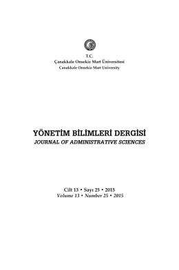 Cilt 13 • Sayı 25 • 2015 Volume 13 • Number 25 • 2015