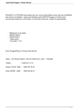 Çorlu Özel Peugeot - Citroen Servisi