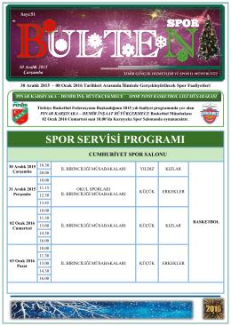 SPOR SERVİSİ PROGRAMI - Gençlik Hizmetleri ve Spor İl Müdürlüğü