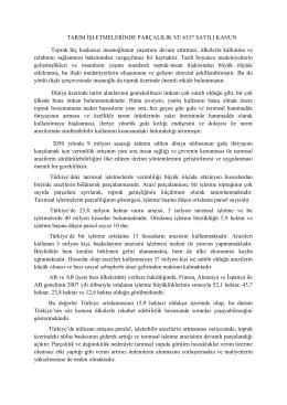 TARIM İŞLETMELERİNDE PARÇALILIK VE 6537 SAYILI KANUN