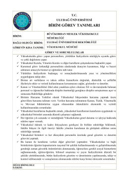 birim görev tanımları - Büyükorhan MYO