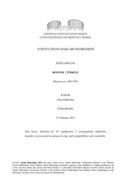 AİHM, 21 Temmuz 2015 tarihli Reisner/Türkiye