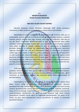 MERZİFON BELEDİYESİ Destek Hizmetleri Müdürlüğü 2005
