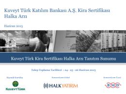 Kuveyt Türk Katılım Bankası A.Ş. Kira Sertifikası Halka Arzı - kt