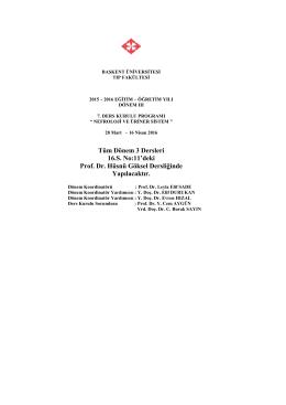 Tüm Dönem 3 Dersleri 16.S. No:11`deki Prof. Dr. Hüsnü Göksel