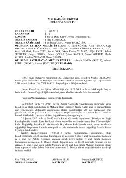 Karar No - 212 - Malkara Belediyesi