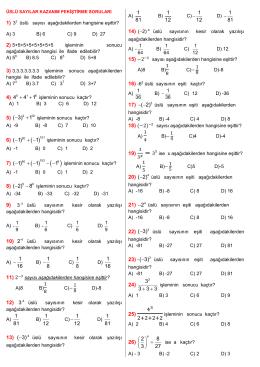 3 üslü sayısı aşağıdakilerden hangisine eşittir? A) 3 B) 6 C) 9 D) 27