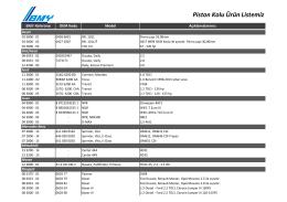 Piston Kolu Ürün Listemiz