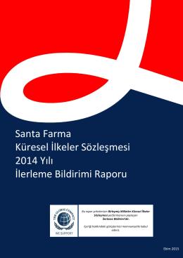 Santa Farma Küresel İlkeler Sözleşmesi İlerleme Bildirimi Raporu