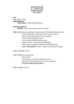 BİLİRKİŞİLİK EĞİTİMİ 12 – 13 ARALIK 2015 PROGRAM TASLAĞI