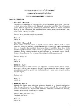 1 uluslararası antalya üniversitesi inşaat mühendisliği bölümü lisans