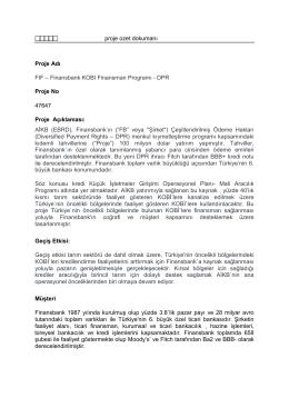 Finansbank KOBI Finansman Programı - DPR Proje No