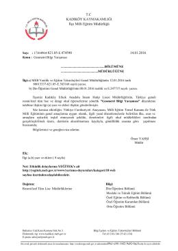 T.C KADIKÖY KAYMAKAMLIĞI İlçe Milli Eğitim Müdürlüğü 14.01