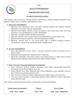 7. Sözleşme - Düzce Üniversitesi Teknoloji Fakültesi