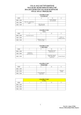 celal bayar üniversitesi malzeme mühendisliği bölümü 2014