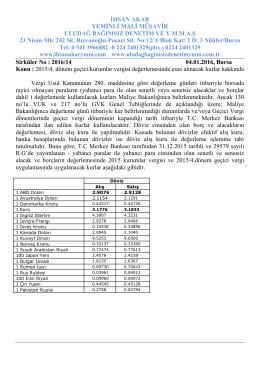 2016-14 nolu - Uludağ Bağımsız Denetim YMM