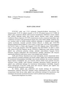 Sungurlu Cumhuriyet Başsavcılığı 08/03/2015 tarihli basın açıklaması.