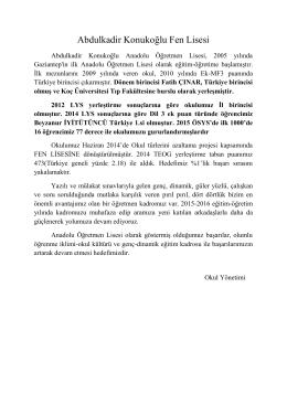 taban puanımızla ilgili açıklama - Abdulkadir Konukoğlu Anadolu