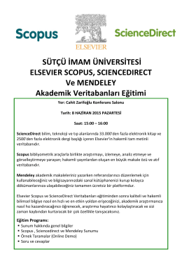 SÜTÇÜ İMAM ÜNİVERSİTESİ ELSEVIER SCOPUS