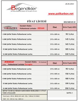 fiyat listesi