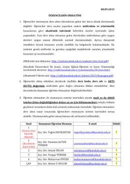 08.09.2015 ÖĞRENCİLERİN DİKKATİNE 1. Öğrenciler otomasyon