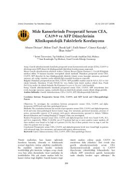 Mide Kanserlerinde Preoperatif Serum CEA, CA19