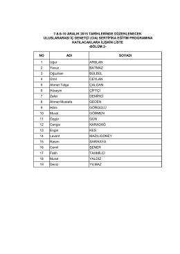 Bölüm 2 Katılımcı Listesi