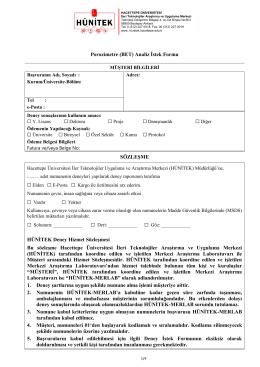 BET Analiz İstek Formu - İleri Teknolojiler Uygulama ve Araştırma