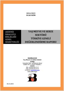 YMS Değerlendirme Raporu - Ocak-Ekim 2015