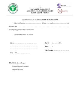Kocaeli Sağlık Yüksekokulu Kayıt Silme/İlişik Kesme Formu