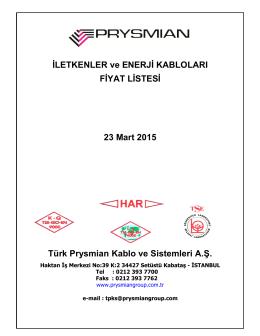 Prysmıan Subat 2015 Fiyat Listesi