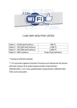 I-LIKE-WIFI 2016 FİYAT LİSTESİ