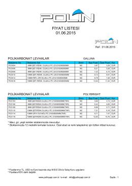 FİYAT LİSTESİ 01.06.2015 - Polin Yapı ve Reklam Malzemeleri Ltd.Şti.