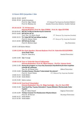 11 Kasım 2015 Çarşamba-I. Gün - Deneysel Tıp Araştırma Enstitüsü