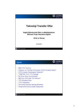 Giriş ve Sunuş - Medipol Üniversitesi | Teknoloji Transfer Ofisi